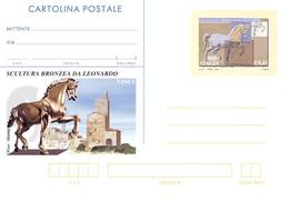 REPUBBLICA ITALIANA INTERO POSTALE CAVALLO DI LEONARDO DA VINCI 2001 L. 800 EURO 0,41 – CATALOGO FILAGRANO C247 NUOVO ** - 1946-.. République