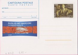 REPUBBLICA ITALIANA INTERO POSTALE GUGLIELMO MARCONI 2001 - LIRE 1.000 / EURO 0,52 – CATALOGO FILAGRANO C248 – NUOVA ** - Postwaardestukken