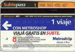 TICKET DE METRO SUBTE CIUDAD DE BUENOS AIRES ARGENTINA OHL - World