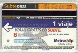 TICKET DE METRO SUBTE CIUDAD DE BUENOS AIRES ARGENTINA OHL - Subway