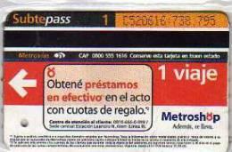 TICKET DE METRO SUBTE CIUDAD DE BUENOS AIRES ARGENTINA OHL - Métro