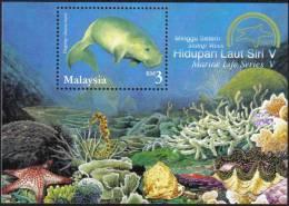 2001 Marine Sea Shell Horse Star Fish Reef Malaysia MS Stamp MNH - Maleisië (1964-...)