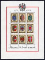 AUSTRIA 1976 Millenary: Coats Of Arms Block MNH / **.  Michel Block 4 - Blocks & Sheetlets & Panes