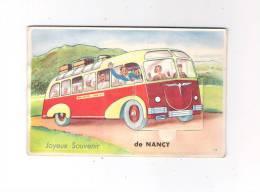 54 NANCY - Carte à Système 10 Petites Vues - Joyeux Souvenir Autobus Car Bus Animation Valises N° 73 J.N. éditions - Bus & Autocars