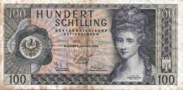 100 Schilling Banknote 1969, Gebrauchte Erhaltung - Oesterreich