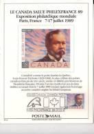 Philexfrance 1989-Canada-L H Frechette-feuillet Couvenir - Esposizioni Filateliche