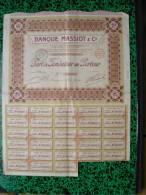 Action - Europe - France - Banque Massiot - Nantes 1921 - Part De Fondateur - - Banque & Assurance