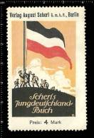 Old Original German Poster Stamp (advertising, Reklamemarke) Book, Buch, World War I, Soldier, Flag, Soldaten, Flagge - Stamps