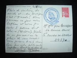 CP TP MARIANNE DE LUQUET TVP ROUGE DATEE 4-7-03 + CACHET BLEU STATSRAAD LEHMKUHL / BERGEN NORWAY + VOILIER - 1997-04 Marianne Du 14 Juillet