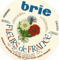 étiquette Fromage :  Brie  Fleurs  Coquelicot  Paquerette - Fromage