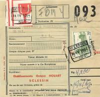 COLIS POSTAL . OBLITERATION FERROVIAIRE . SCLESSIN , HALLE . - Chemins De Fer