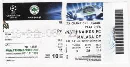 Panathinaikos Vs Malaga CF/Football/UEFA Champions League Qualifying Round Match Ticket - Tickets D'entrée