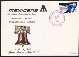 R)1980 FFC, INAGURAL FLIGHT PHILADELPHIA TO MEXICO OF MEXICANA DE AVIACION,INDEPENDENSE BELL,STAMP OLIMPIC WINTER USA. - Mexico