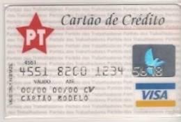 CC124 BRAZIL CARD BRADESCO VISA PT WORKERS PARTY  1980´S RARE - Tarjetas De Crédito (caducidad Min 10 Años)