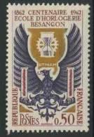 France Rep. Française 1962 Mi 1396 YT 1342 Sc 1036 ** Emblem + School Horology, Besançon / 100 Jahre Uhrmacherfachschule - Horloges