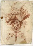 - FLEURS . GRAVURE A LA MANIERE DU DESSIN DU XVIIIe S. TIREE EN SANGUINE . - B. Flower Plants & Flowers