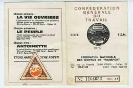 CARTE ADHERENT CGT TRANSPORTS RATP  VIGNETTE AVENIR SOCIAL 1975 - Documentos Antiguos