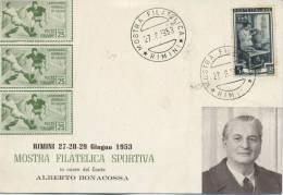 ITALIA - FDC  1953 -  OMAGGIO AD ALBERTO BONACOSSA - MOSTRA FILATELICA SPORTIVA - RIMINI - F.D.C.