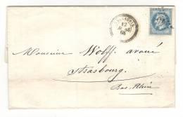 Lettre De VALLAURIS, Alpes Maritimes + Cachet PERLE Du 12 Mars 1868 + GC 4514 Sur Empire Lauré N° 29 > Strasbourg, TB - 1849-1876: Klassik