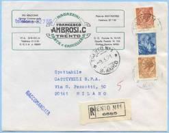 1971 MICHELANGIOLESCA L.70 MISTA SIRACUSANA L.30+80 BUSTA 9.3.71 TARIFFA LETTERA RACC.TIMBRO ARRIVO/OTTIMA QUALITÀ(4518) - 6. 1946-.. Repubblica
