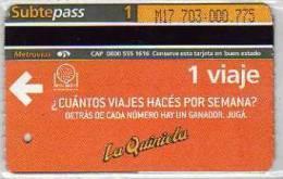 TICKET DE METRO SUBTE CIUDAD DE BUENOS AIRES ARGENTINA OHL
