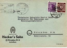 1948 SELTENERE  Bedarfsbeleg, Mit 2 Verschiedenen Tagesstempeln Vom 6.03. Von Dresden N 25L ü. Dresden N 25i Nach N54 - Zone Soviétique