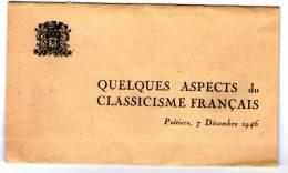 Programme , Quelques Aspects Du Classicisme Français , Poitiers , 1946 , 3 Scans - Programs
