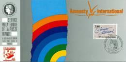 081 Carte Officielle Exposition Internationale Exhibition Puteaux 1991 France FDC Amnesty International - Esposizioni Filateliche