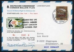 1969 Germany Fire Island USA Balloon Flight Postcard DKSB8 - BRD