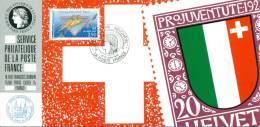 092 Carte Officielle Exposition Internationale Exhibition Neuchatel 1992 France FDC Pro Juventute Europe D'art D'art - Esposizioni Filateliche