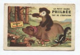 """35930 - Carton Publicitaire   Philbée """" Avec  Ours Faisant De L' équitation Et  Grenouille  Ecureuil Et Champignons - Advertising"""
