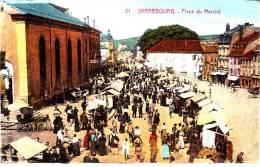 CPA SARREBOURG MOSELLE Place Du Marché Animation  1930  2 Ieme Choix - Sarrebourg