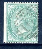 Jamaica 1870 3d Green, Wmk. Crown CC, Fine Used (A) - Jamaica (...-1961)