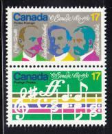 Canada MNH Scott #858a Vertical Se-tenant Pair 17c Opening Music, Composers - O´Canada Centenary - 1952-.... Règne D'Elizabeth II