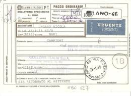 ITALIA, 1988, Bollettino Paccopostale Ordinario Da Milano A  Bari, Affrancatura Mista - 1981-90: Storia Postale