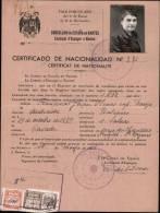 CERTIFICAT DE NATIONALITE AVEC FISCAUX DE  0.25 & UNE PESETAS DE ORO DATE DU 16.05.1951 - Fiscaux