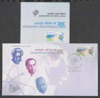 India 2005  INTERNATIONAL YEAR OF PHYSICS ALBERT EINSTEIN NOBEL PRIZE WINNER FDC  #  31222  Indien Inde - Physics