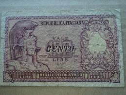 100 LIRE ITALIA ELMATA - DATA EMISSIONE 31.12.1951  DI CRISTINA-CAVALLARO-PARISI - - [ 2] 1946-… : Républic