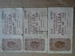 1 LIRA ITALIA LUOGOTENENZA LOTTO 3 PEZZI - DATA EMISSIONE 23.11.1944  BOLAFFI-CAVALLARO-GIOVINCO - - [ 2] 1946-… : Republiek