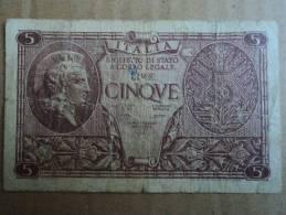 5 LIRE ITALIA LUOGOTENENZA - DATA EMISSIONE 2311.1944  BOLAFFI-CAVALLARO-GIOVINCO - - [ 2] 1946-… : Repubblica