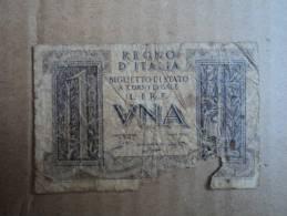 1 LIRA ITALIA DITTATURA - DATA EMISSIONE 14.11.1939  GRASSI-PORENA-COSSU - - [ 2] 1946-… : Républic
