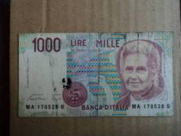 1000 LIRE ITALIA MONTESSORI - D.M. 03 OTTOBRE 1990 DATA EMISSIONE 24.10.1990   CIAMPI-SPEZIALI- - [ 2] 1946-… : Républic