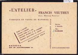 Genève : L'Atelier Francis Veuthey - Matériel Pour Artistes-peintres - R. 31-décembre 51 ; Form. 10 / 14,5 (9776) - GE Genève