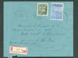 N°768-771  Obl. Sc HUY 1 S/L. Recommandée Du 31-III-1950 Vers Bruxelles - 7990 - 1948 Export