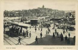 RPPC - TURKEY - PONT DE GALATA - TRAMS, HORSE-DRAWN CARRIAGES, STATION, BRIDGE - VINTAGE ORIGINAL REAL PHOTO POSTCARD - Türkei
