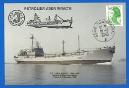 Marine Nationale - 83800 Toulon Naval (2932) Petrolier ABER WRAC´H -Dernière Cérémonie Des Couleurs - 10 11 1988 - Seepost
