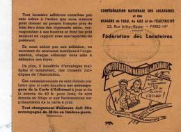 Carte D´adhérent De La Confédération Nationale Des Locataires Et Des Usagers De L´Eau, Du Gaz Et De L´Electricité; 1953 - Vieux Papiers