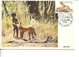 (333) Australia First Day Cover - FDC - Premier Jour D´Australie - Australian Animal Dingo Maxicard - Sobre Primer Día (FDC)