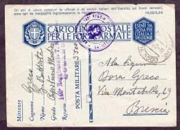 1942 Italia, 16 Gennaio Cartolina Postale Per Forze Armate Spedita Da P.M. 3500 A Brescia - Franquicia