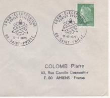OBLITERATION COMMEMORATIVE PORTES OUVERTES  ERGM ELECTRONIQUE SAINT PRIEST 1973 - Militaria
